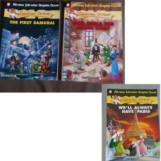 USED Geronimo stilton graphic novel The first samurai /Who stole the Mona lisa / we'll always have Paris books