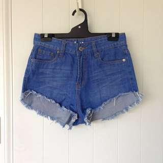 Denim high rise shorts