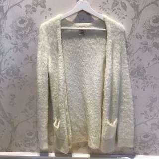 pique超舒服白色長版毛外套