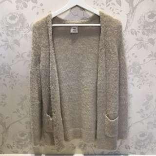 pique超舒服灰色長版毛外套☺️
