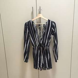 Glassons Blue And White Stripe Playsuit