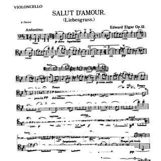Cello Sheetmusic Salut D'amour
