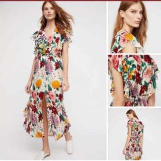 casual floral dress with front slip