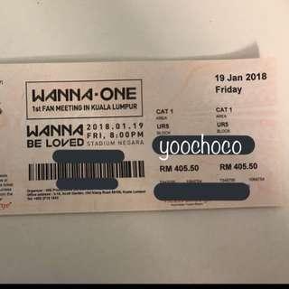 Wanna One Fan Meeting In Kuala Lumpur CAT1 Ticket