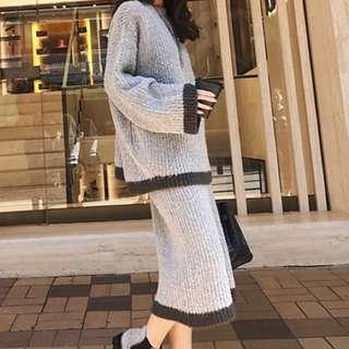 首爾兔毛針織兩件式套裝裙