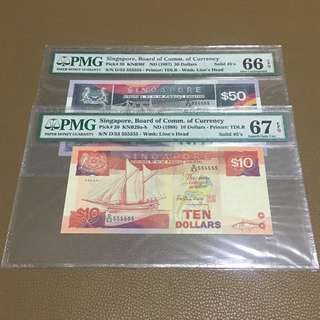 D/53 555555 ((PMG 66/67EPQ)) - Singapore $50 & $10 Ship Series with Solid Fancy Identical Number in Original Brand New Mint Uncirculated Condition (UNC)