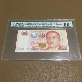 0AK 111111 ((PMG 66EPQ)) - 1999 Singapore $10 Portrait Series with Solid Fancy Identical Number in Original Brand New Mint Uncirculated Condition (UNC)