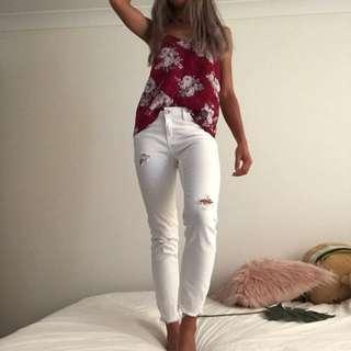 Zara white distressed jeans