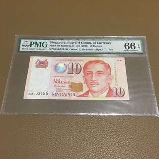 0AK 123456 ((PMG 66EPQ)) - 1999 Singapore $10 Portrait Series with Solid Fancy Identical Number in Original Brand New Mint Uncirculated Condition (UNC)