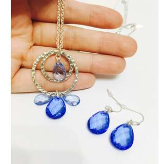 NEW set NARAE shiny silver blue style necklace earrings