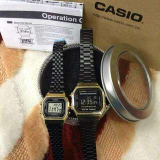 Casio Couple Vintage Watch - Gold Black Authentic
