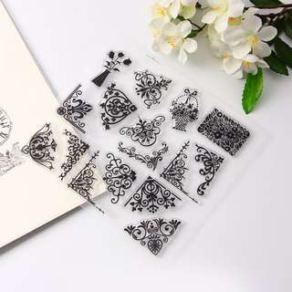 Instock floral border clear stamps set