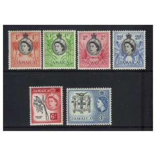 JAMAICA QEII 1956-1958 DEFINS 6 MH VALUES CAT £9+ BL482