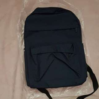 Dark blue canvas coloured plain zip school backpack