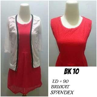 Dress + Cardigan Brukat lapis Spandex | BK 10