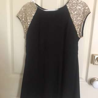 Black And Gold Sequined Playsuit