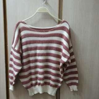 粉紅間條舒適冷衫