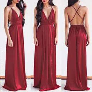 Maroon silky long dress