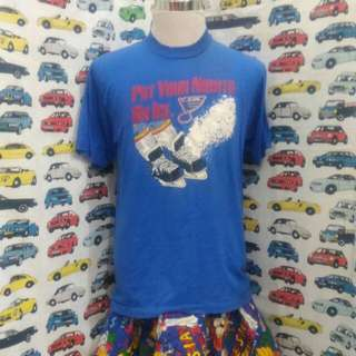 Vintage 50/50 t shirt blue colout st loius put your night on ice
