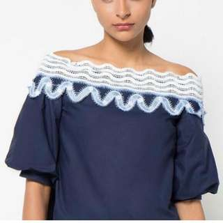 Korean navy off shoulder puff sleeve dress