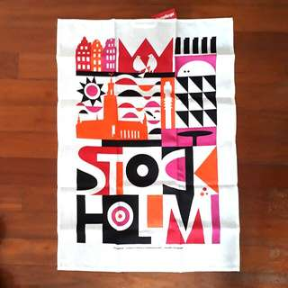 Swedish Decorative Cloth / Fabric colourful orange pink black stockholm print art artisanal abstract