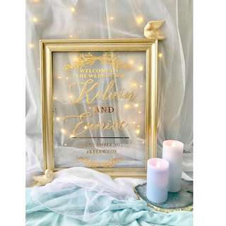 For Rent: Gold frame welcome signage with customised words
