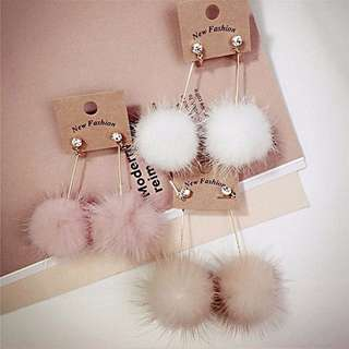 Anting Rabbit Fur Ball PomPom Long Drop Earrings for Women