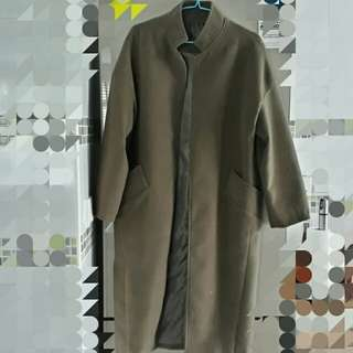 Long Coat in Olive Green