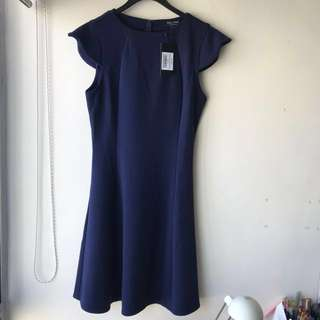 Collection 寶藍色波浪袖連身裙 one piece dress OL