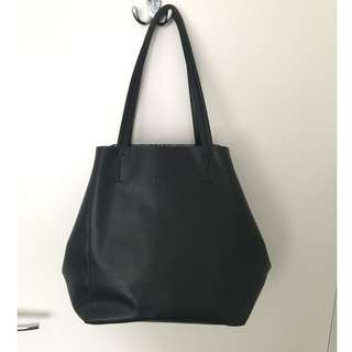 Large Black Leather Tote Back