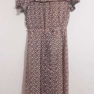 Dress Coklat Motif Bunga