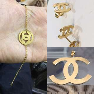 CHANEL - 18k Real Gold Plated PENDENT , BRACELET , STUDS