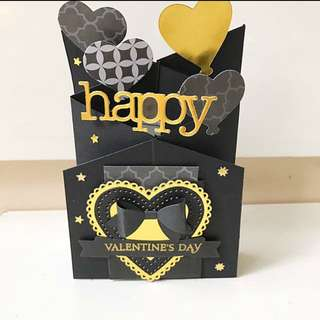 Happy Valentine day cascanding Black and Gold card