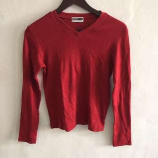 Red Cotton Sweater by Giordano