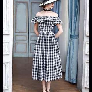 Checkered off shoulder ruffle dress