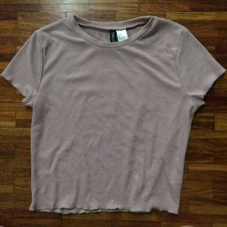 H&M OLD ROSE RIBBED CROP TOP