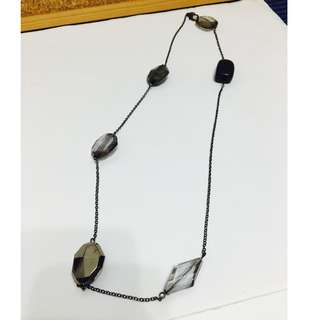 NEW five stones crystal style long necklace purple