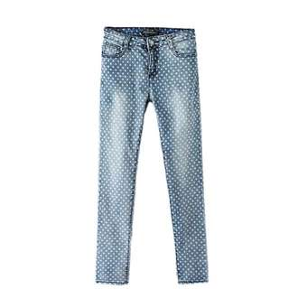 Polka dot light blue wash jeans