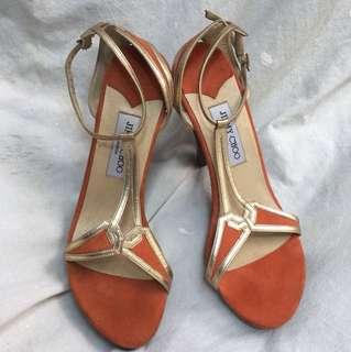 Jimmy Choo Strappy Gold Orange Heels