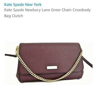 ♠️ KATE SPADE Newbury Lane Greer Chain Cross Body Bag Clutch 3way, Mulled Wine - Safiano Leather (used once only)