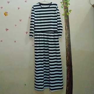 Dress maxi/dress strip wanita