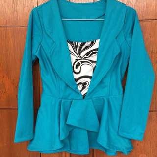 Blazer murah baju murah biru motif