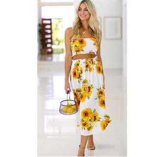 Floral tube crop top skirt terno