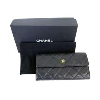 Chanel Black Caviar Long Wallet