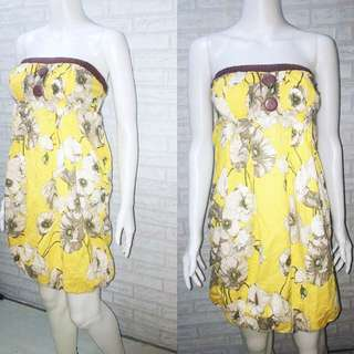 YELLOW FLORAL BALLOON DRESS