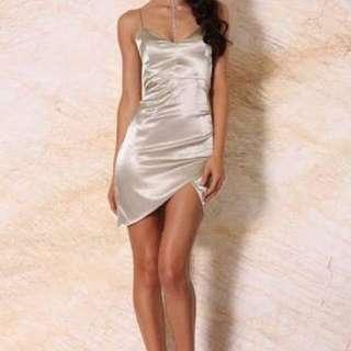 MESHKI BOUTIQUE Estella Satin Mini Dress in Pistachio