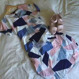 Pastel Geometric Shift Dress