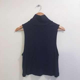 Kookai navy high collar top