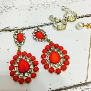 NEW set red jewels earrings