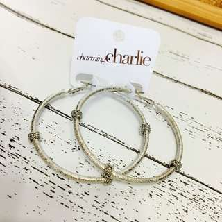 NEW charming charlie silver big earring